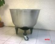 Дежи цельнокатанные на 140 лит. из нержавеющей стали на резиновом ходу