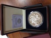 серебрянная монета весом 1 кг,  20 лет нац. валюты