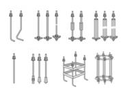 Тип 1.1 1.2 — Болт фундаментный изогнутый с шайбой и 2-мя гайками
